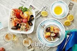 Corelle Classic Ocean Blues 16 Piece Lunch Dinnerware Set, Service for 4