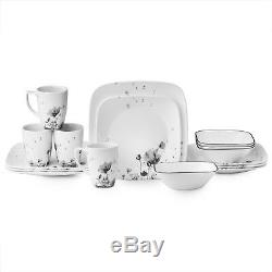Corelle Dinnerware Set 16 Piece Dinner Plates Bowls Dishes Square Kitchen White