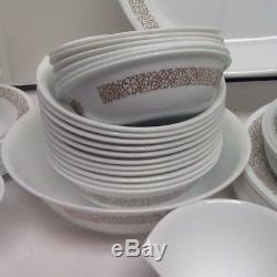 Corelle WOODLAND BROWN 82 Pc Set LOT Corning Dinner Lunch Plate Bowl Platter +