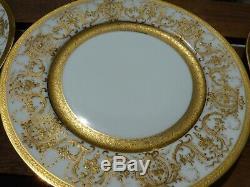 Damon & Delente Malesherbes Limoges Gold Decorative Dinner Plates Set of 10