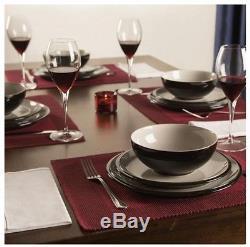 Denby Everyday Black Pepper 12 Piece Dinner Dining Set Plates Bowls Salad Dishes