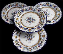Deruta Pottery Hand Painted Ricco Pattern Dinner Plates Set Of 4