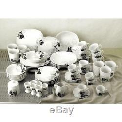 Dinner Set 62 Piece Porcelain Dinnerware Black Flower Tableware Milk Jug Plates