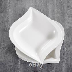 Dinnerware Porcelain Dinner Set 6Pieces Square Soup Deep Plates China Way Simple