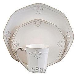 Dinnerware Set 16 Pcs Fleur De Lis Classic Ceramic Plates Platters Mugs, White