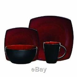 Dinnerware Set 16 Piece Square Dinner Plates Mugs Dishes Bowls Home Kitchen Red