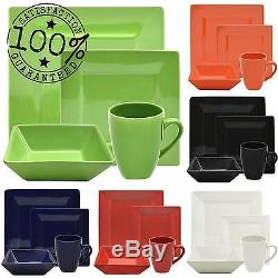Dinnerware Set 16-Piece Square Porcelain Plates Dishes Bowls Kitchen Dinner Set
