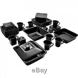 Dinnerware Set Black Square Kitchen Banquet 45 Piece Dinner Plates Cups Dishes