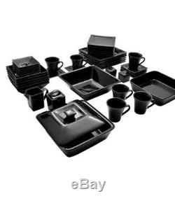 Dinnerware Set Black Square Kitchen Banquet 45 Piece Dinner Plates Cups Dishes