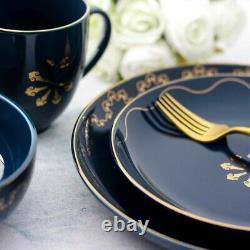 Dinnerware Set Blue Kitchen Plates Dishes Bowls Stoneware Mugs Salad Modern Gold