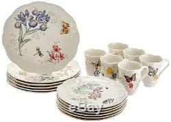 Dinnerware Set Dinner Plates Dishes Bowls Cups Service 6 Butterfly 18 Piece Gift