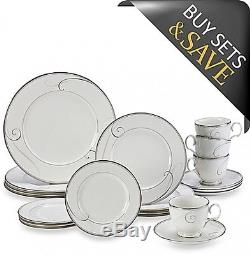 Dinnerware Set Noritake Platinum Wave 20-Piece White Porcelain Dinner Plates NEW