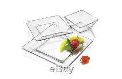 Dinnerware Set Square 12 Piece Glass Service Dinner Plates Bowls Salad Dishes