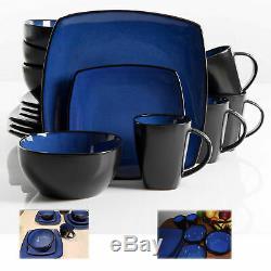 Dinnerware Set Square Dinner Plates Mugs Dishes Bowls Home Kitchen 16 Pcs Blue