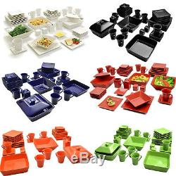 Dinnerware Set Square Kitchen Banquet 45 Piece Dinner Plates Cups Dishes New