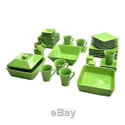 Dinnerware Set Square Kitchen Banquet 90 Piece Dinner Plates Cups Dishes New