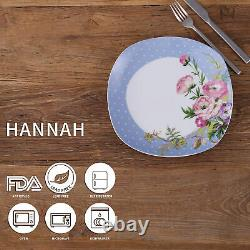 Dinnerware Set VEWEET 40pcs Porcelain Flower Pattern Plates Bowls Mugs Tableware
