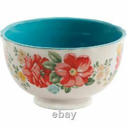 Dinnerware Vintage Floral 12 Piece Set Teal Service for 4 Plate