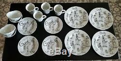 Disney Sketchbook GOOFY 16 piece set Dinner Plates Salad Plates Bowls Mug