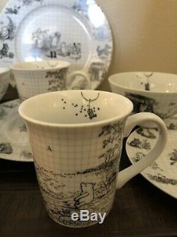 Disney Sketchbook Winnie The Pooh 16 piece set Dinner & Salad Plates Bowls Mugs