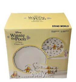 Disney Winnie The Pooh Dinner Set Porcelain 12 Piece Plate Bowl Novelty Gift Box