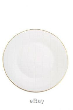 Domenico Vacca By Prouna Alligator White Dinner Plates Bone China Set Of 6