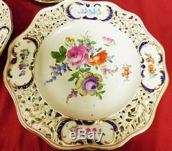 Dresden Carl Thieme Hand Painted Reticulated Dinner Plates, c1900 Set of 10