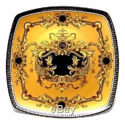 EURO Porcelain 10 Yellow Dinner Plates, Greek Key Medusa, 24K-Gold Set of 6
