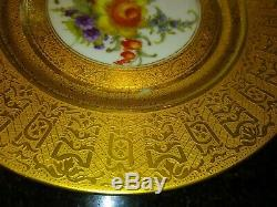 Encrusted Gold Gilt Floral Cabinet Dinner Plates Set of 12