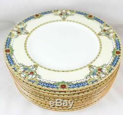 English Hand Enameled Set 10 Dinner Plates Minton Bone China B1090 Deco Flowers