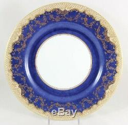 English Set 11 Dinner Plates Crown Staffordshire A13044 Sponge Cobalt Blue Gold