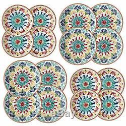 Epicurean Rio Medallion Outdoor-Plastic/Melamine Dinner & Side Plates-Set of 8