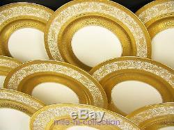 Exquisite Bavaria Heinrich & Co Gold Encrusted Dinner Plates Set Of 12