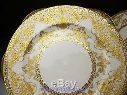 Exquisite Limoges Haviland Gold Floral Encrusted & Jewels Dinner Plates Set Of 8
