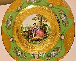 Exquisite Rare Bavaria Heinrich & Co Gold Encrusted Dinner Plates Set Of 6