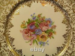Exquisite Set Of 12 French Hand Painted & Gilt Decorative Cabinet Plates