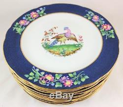 Fab Chelsea Bird Set(s) 6 Dinner Plates Antique Copeland Spode China 2-6775 Blue