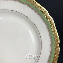 Fancy Hutschenreuther Gold Encrusted Ivory Dinner Plate Set of 8 Jade Green