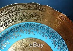 Finest Set of 12 STW BAVARIA German Dinner Cabinet Plates with Gilt Water Nymphs