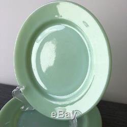 Fire King Jadite / Jadeite / Jade-ite Restaurant Ware Dinner Plates Set Of Three