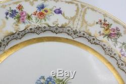 Full Set of 12 Floral & Gold 10.5 Dinner or Service Plates by Wm Guerin Limoges