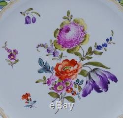 Gorgeous Set Of 5 Large Dresden Porcelain Enameled Flowers Pierced Dinner Plates