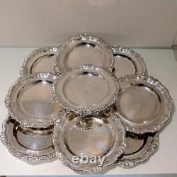 George IV Sterling Silver Set Twelve Dinner Plates London 1833 John Houle