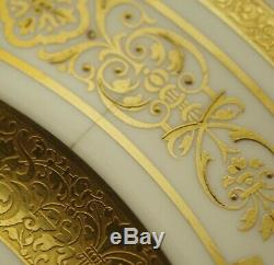 George Jones Crescent Heavy Gold Encrusted Set Of 12 Dinner Plates 10.5 Antique