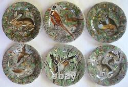 Gien French Faience Rambouillet Hunting Dinner Plates Set of 6 Mint Condition