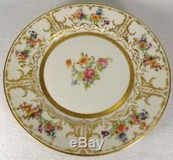 Gorgeous Limoges Dinner Plates Set of 4 Wm. Guerin & Co. France Floral Gold VG