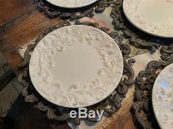 Gracious Goods GG Collection Set of 4 Dinner Plates Acanthus Leaf & Chargers