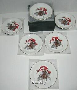 Gucci Dessert Snack Plates Dishes Set of 6 in Box Fine Bone China Knight Design