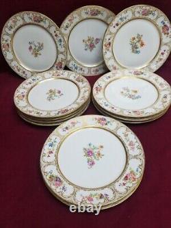Guerin, William hand painted Limoges France Dresden Flowers Set 12 Dinner Plates