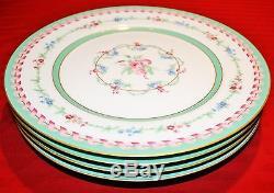 HAVILAND MARIE ANTOINETTE PINK/GREEN SET of 4 DINNER PLATES